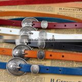 anti silver color buckle colorful italy genuine leather trendy and retro dressing lady belts