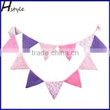 Pink and Purple Polka Dot/Stripe Textile Bunting Flag Cloth Fabric Retro Double Sided Banner PL008