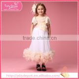 Yellow and white bubble dress, party dress with summer for 1-9 years girl                                                                         Quality Choice