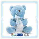 Hot sale plush blue teddy bear with a milk bottle for baby                                                                         Quality Choice