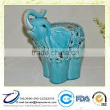 Ceramic Large elephant Cutout Candle Holder Indoor Outdoor Lantern Blue