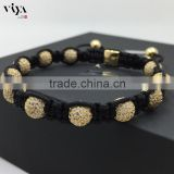China Knot 100% handmade jewellry CZ balls weave beads mans bracelet adjustable size with customer logo tag square beads