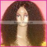 Indian remy afro curl human hair full lace wig