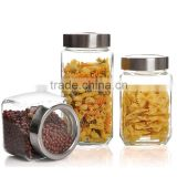 custom clear empty glass cream stackable food jars