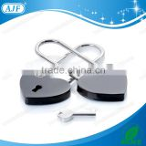 AJF Black Long Bow Heart shaped Love Padlock - Top quality (Lovelock, Gift, Liebesschloss, love lock, wishlock, cadenas d'amour