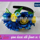 Blue Petal with Yellow FLower Heart Decorated Plastic Hairband