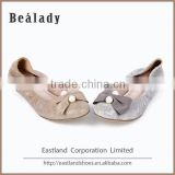 Factory price custom soft double sole suede leather flat ballerinas shoes woman