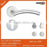 hollow stainless steel bent lever handle, hollow Inox tube handle,stainless steel door handle on roses
