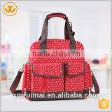 Wholesale multifunctional fashion design red color polyester baby diaper bags 2015
