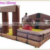 Crazy outdoor or indoor sport game inflatable mechanical bull, inflatable mechanical bull mattress