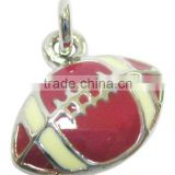 fashion metal American football charm /rugby pendant necklace jewelry, Various Designs and colours,12.5*14.3mm