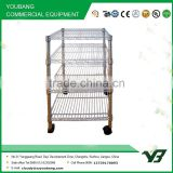 2015 hot sell NSF 50KGS light duty 4 layer corner chrome metal wire display rack with 4 wheels (YB-WS012)