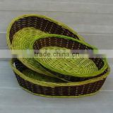 Bamboo rattan Oval Fruit Basket Set of 3 from vietNam, 100% natural material and handmade