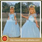 LBFG14 Aqua Blue Crepe Ball Gown Wedding Party Dress Flower Girl Dress Short Sleeve Girl Dress with Belt for Weddings