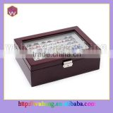 locked cufflink wood collection box with clear window for cufflinks