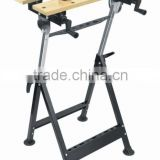 Adjustable wooden folding work bench for wood working
