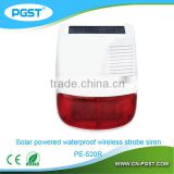 Wireless solar siren for home alarm red light flashing & sound