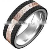 Fashion 8mm Mens bands rose gold plating high Polish Band carbon fiber ring hammer finish titanium ring band
