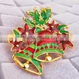 Lux Accessories Christmas Bell Mistletoe Bow Xmas Brooch Pin