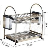 kitchen 2 tier stainless steel dish rack drainer with cutlery drainer with trays