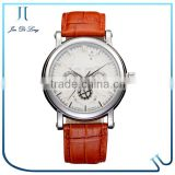 Multi functions three eyes mechanical 10m water resistance genuine leather band lady wrist watch woman