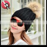 Winter Women Raccoon Fur Pom Pom Bobble Knit Braided Hat