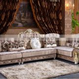 M878 Living room furniture classical solid wood frame fabric sofa/fabric big corner sofa