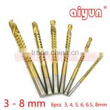 "6pcs/set Titanium HSS Saw Drill Bit Electric Drill Hemp Flowers drill bits set 1/4"" 6.35mm Hex shank"