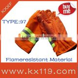 97 type Fire retardant fabrics green and orange color high impact protective gloves