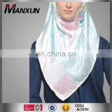 Elegant Muslim Accessory Women Digital Printed Square Tudung Silk Scarf Or Shawl