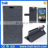 China Sale Cloth Texture Pattern Wallet Style Magnetic Buckle Side Flip Stand Case for HTC Desire 820 mini