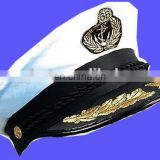 QUALITY SATIN CAPTAINS HAT ONE SIZE ADULT NAVAL OFFICER NAVY SAILOR
