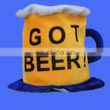 Plush carnival Beer Mug Hat with GOT BEER logo