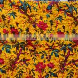 Indian Queen Size Kantha Work Quilts Throw Ethnic Bohemian Yellow Decor Ralli Bedding Blanket