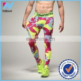 Yihao 2017 hot wholesale custom sports leggings for men camouflage tights long fitness gym pants compression tights jogger pants