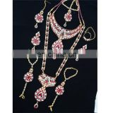 Semi Precious Indian Jewelary Gold Plated Red Stone Zerconic Bridal Rani Haar Earring Tikka