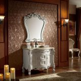 White Finish Single Vintage Bathroom Furniture With Handmade Craved Pattern No.1603