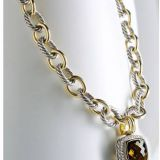 925 DY Inspired Sterling Silver Gold Two Tone Oval Link Necklace