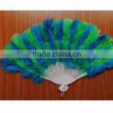 Good quality Ostrich 11 colors elegant large feather folding hand fan for wedding Party supplies