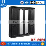 Bedroom furniture RB-6484 wardrobe four door black silver color gardrerobe with double mirror clothespress