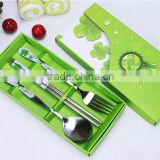 Wedding Events Souvenirs of stainless steel four-leaf clover spoon & fork & chopstick set for Kids Birthday Party Supplies
