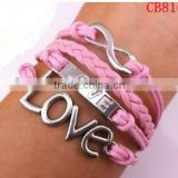 CB8160 Roamntic love sliver braided leather bracelet pink design for girl's accessory bracelet leather