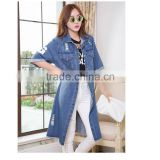 DJ213681 2014 Hot Selling China Wholesale Denim Jackets /Women Blue Denim Jacket Long Style