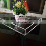 Acrylic serving tray/clear acrylic meal tray/flower display tray