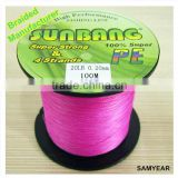 Zhejiang Fishing Wire Outdoor Fishing Tackle Tournament Grade Premium Line PE Braid Fishing Line 4 Strands 20lb SUNBANG Red