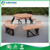 Outdoor Plastic Wood Table Set ,Camping Table Picnic Table Chair Set 5 Years Warranty Outdoor Table Wood Slat Park Table