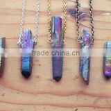 Raw Aura Quartz Rainbow Crystal Point Layering Necklace, Rough Natural Titanium Spike Gemstone with Gold, Silver, Vintage Brass