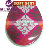 GLD Hot Sales Image Printed Color Elongated Adult Closed Front Soft Toilet Seat Flowery Color Soft cover                                                                         Quality Choice