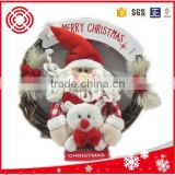 Christmas wreath,Decorated Christmas santa rattan wreath,indoor/outdoor decoration wreath