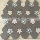 Dark Grey Marble Flower Mosaic Tile